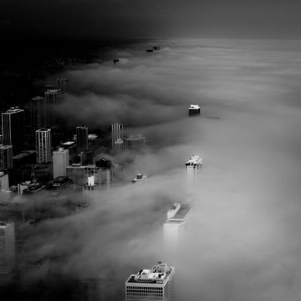 chicago skyline, lincoln park,fog