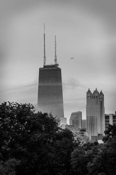 john hancock building, fog, chiacago cityscape